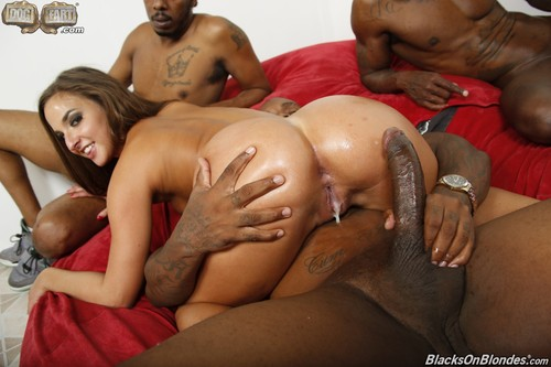 Blonde interracial anal creampie